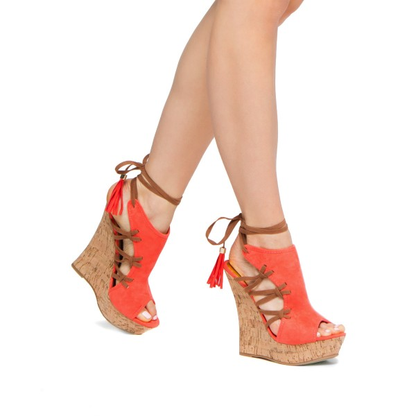 Orange Cork Wedges Ankle Wrap Strappy Peep Toe Suede Platform Sandals image 2