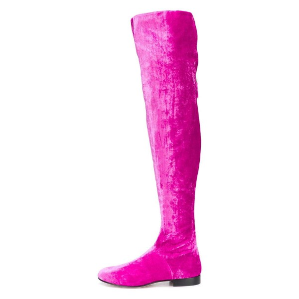 Orchid Long Boots Round Toe Flat Over-the-Knee Boots image 3