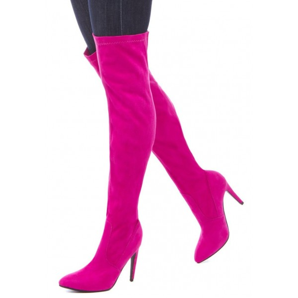 Orchid Stiletto Heels Boots Pointy Toe Suede Sexy Thigh High Boots image 1
