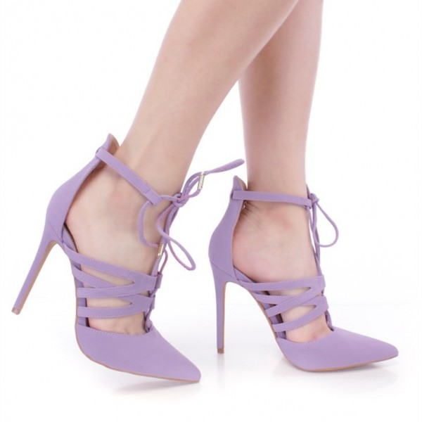 Lilac Lace up Heels Pointy Toe Stiletto Heel Pumps US  Size 3-15 image 3