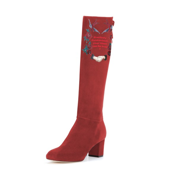 Women's Maroon Suede Letter Floral Mid-Calf Chunky Heel Boots image 1