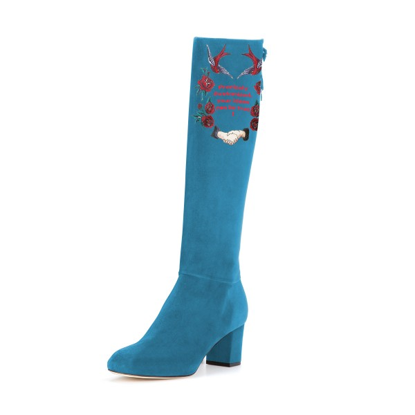 Women's Cyan Suede Letter Floral Mid-Calf Chunky Heel Boots image 1