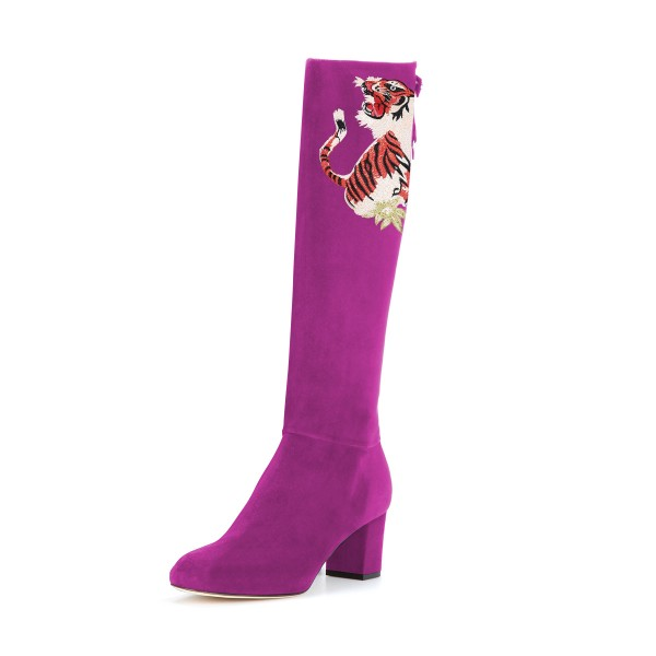 Women's Violet Suede Floral Mid-Calf Chunky Heel Boots image 1