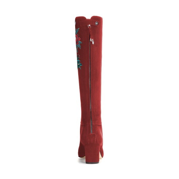 Women's Maroon Suede Letter Floral Mid-Calf Chunky Heel Boots image 2