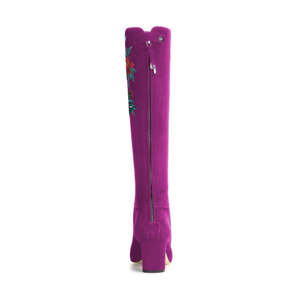 Women's Violet Suede Letter Floral Mid-Calf Chunky Heel Boots image 2