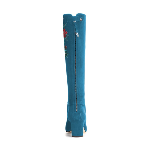 Women's Cyan Suede Letter Floral Mid-Calf Chunky Heel Boots image 2