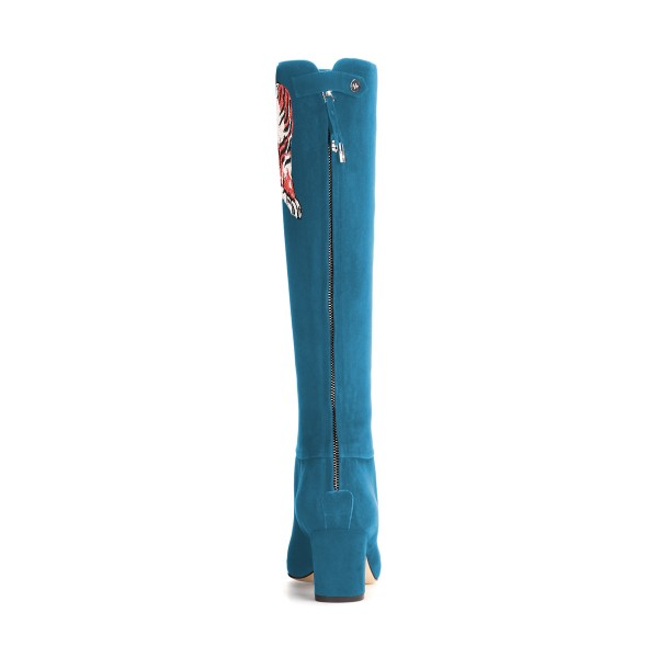 Teal Shoes Suede Tiger Print Block Heel Knee Boots by FSJ image 2