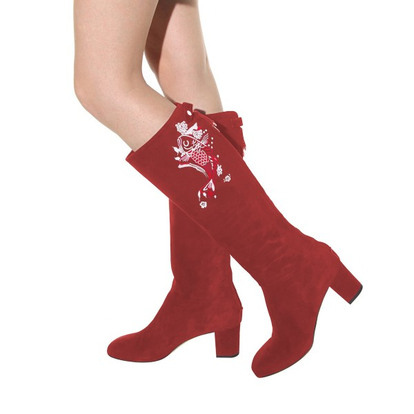 Women's Maroon Suede Fish Floral Mid-Calf Chunky Heel Boots image 3