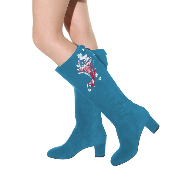 Women's Cyan Suede Fish Floral Mid-Calf Chunky Heel Boots image 3