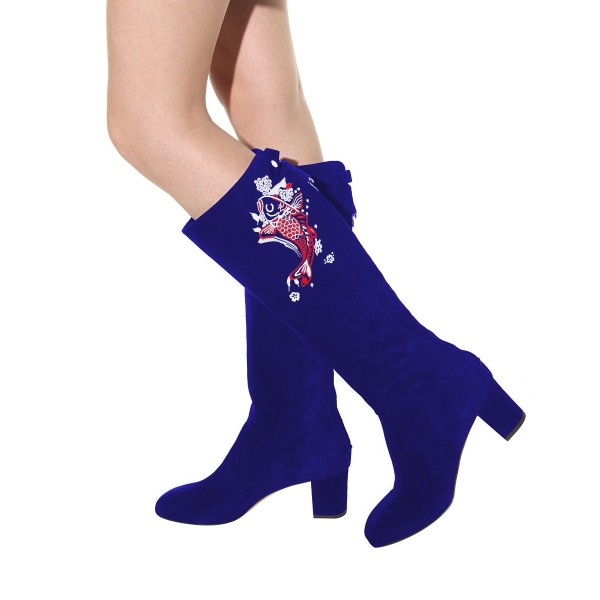 Women's Navy Suede Fish Floral Mid-Calf Chunky Heel Boots image 3