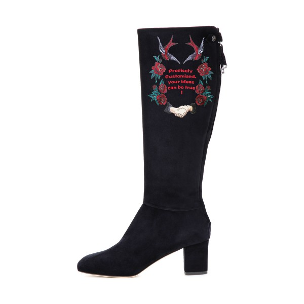 Women's Black Suede Letter Floral Mid-Calf Chunky Heel Boots image 3