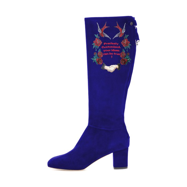 Women's Navy Suede Letter Floral Mid-Calf Chunky Heel Boots image 3