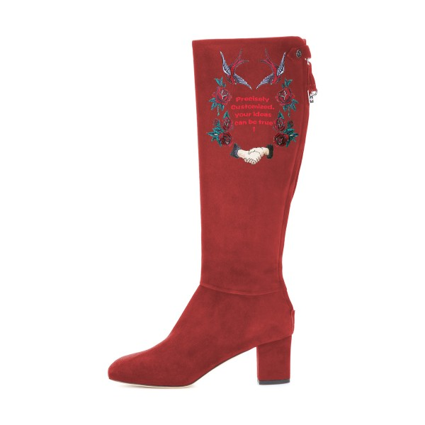 Women's Maroon Suede Letter Floral Mid-Calf Chunky Heel Boots image 3