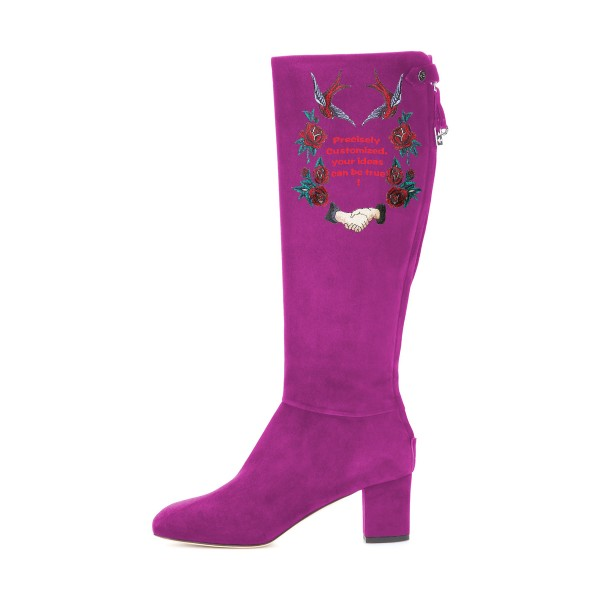 Women's Violet Suede Letter Floral Mid-Calf Chunky Heel Boots image 3