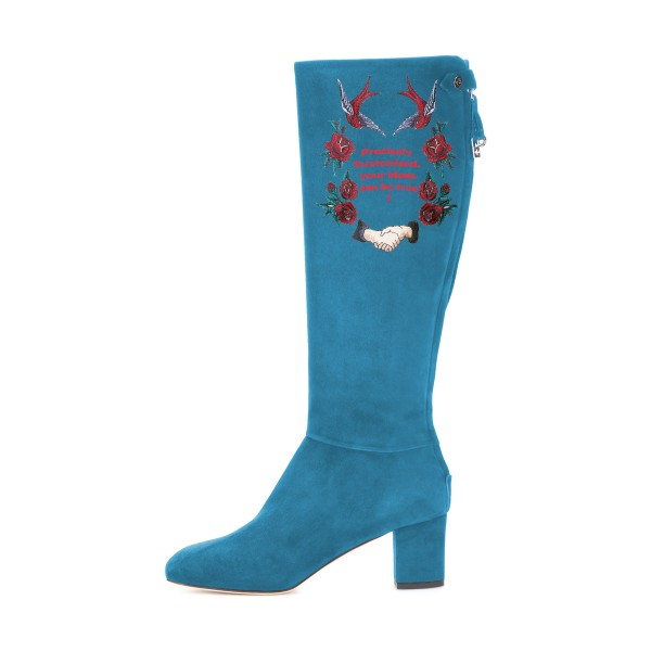 Women's Cyan Suede Letter Floral Mid-Calf Chunky Heel Boots image 3