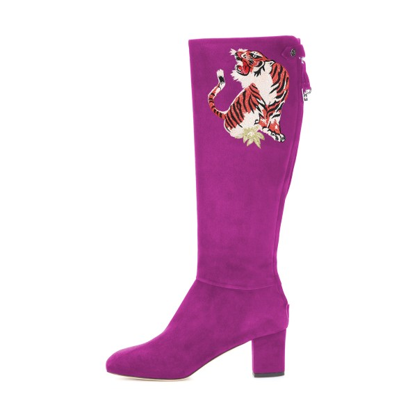 Women's Violet Suede Floral Mid-Calf Chunky Heel Boots image 3