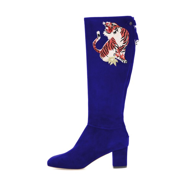 Blue Tall Boots Tiger Print Suede Block Heel Fashion Boots image 3