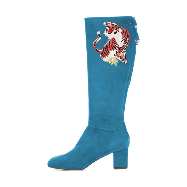 Teal Shoes Suede Tiger Print Block Heel Knee Boots by FSJ image 3