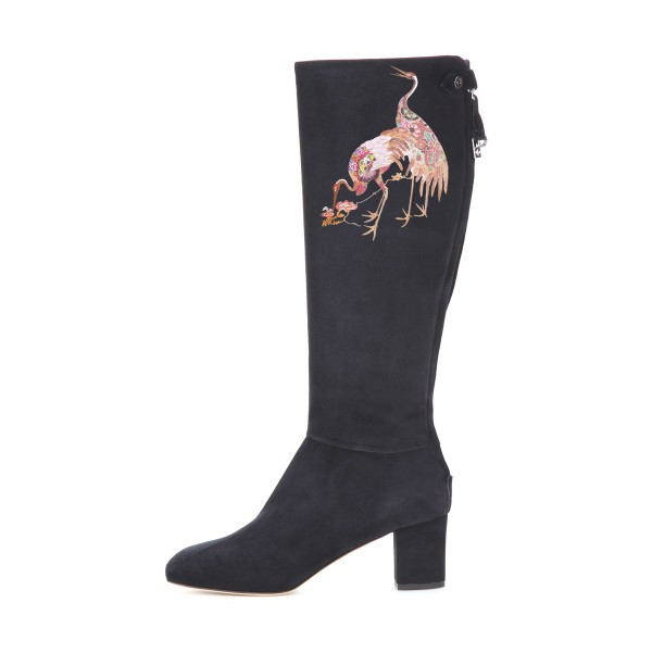 Women's Black Suede Crane Floral Mid-Calf Chunky Heel Boots image 3