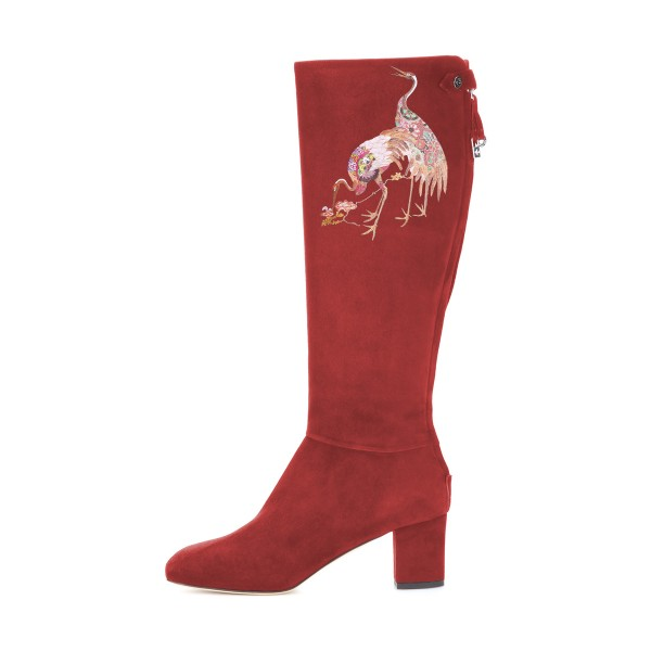 Women's Maroon Suede Crane Floral Mid-Calf Chunky Heel Boots image 3