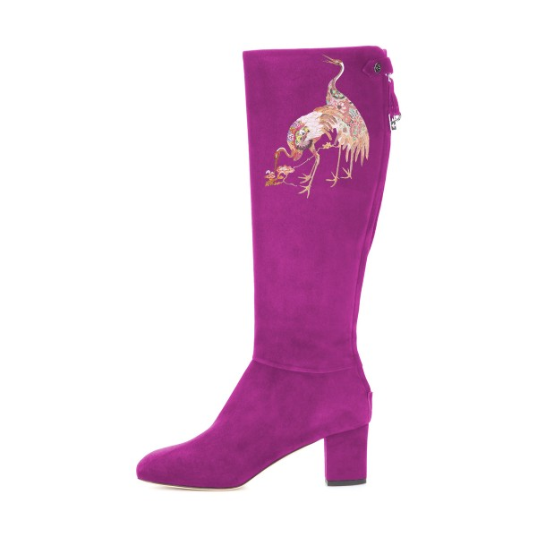Women's Violet Suede Crane Floral Mid-Calf Chunky Heel Boots image 3