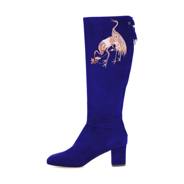 Women's Blue Suede Crane Floral Mid-Calf Chunky Heel Boots image 3