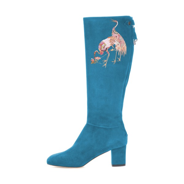 Women's Cyan Suede Crane Floral Mid-Calf Chunky Heel Boots image 3