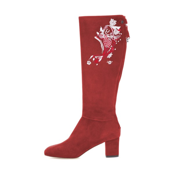 Women's Maroon Suede Fish Floral Mid-Calf Chunky Heel Boots image 4
