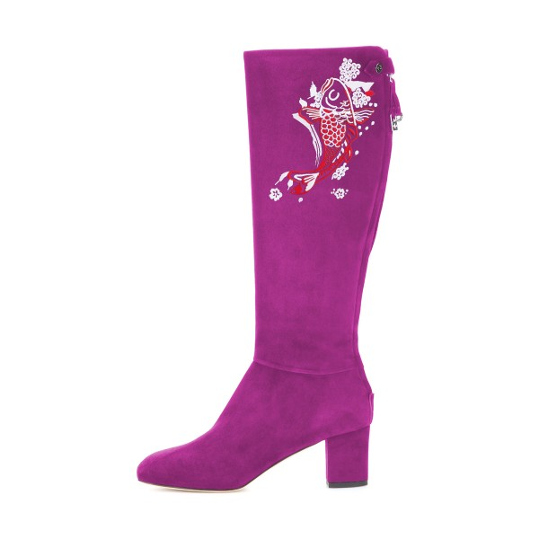 Women's Violet Suede Fish Floral Mid-Calf Chunky Heel Boots image 4