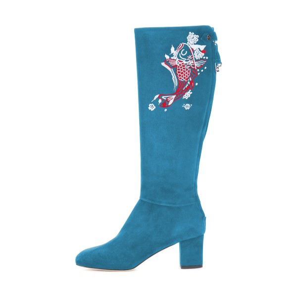 Women's Cyan Suede Fish Floral Mid-Calf Chunky Heel Boots image 4