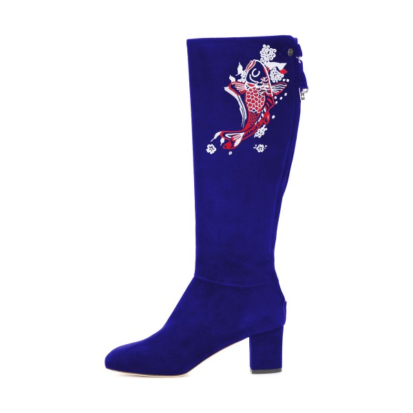 Women's Navy Suede Fish Floral Mid-Calf Chunky Heel Boots image 4