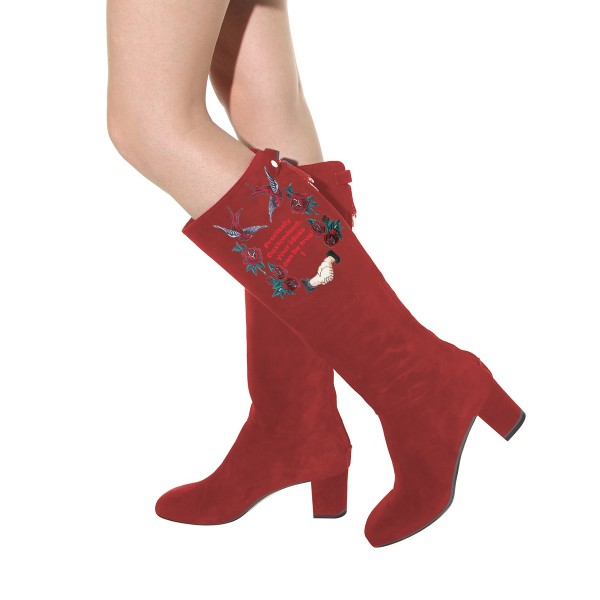 Women's Maroon Suede Letter Floral Mid-Calf Chunky Heel Boots image 4