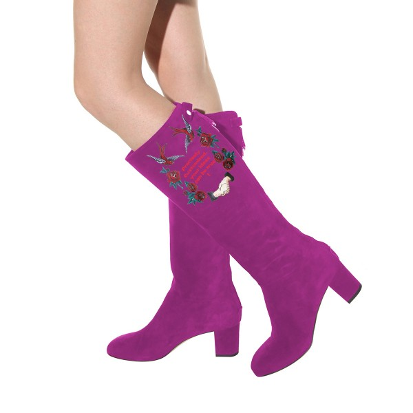 Women's Violet Suede Letter Floral Mid-Calf Chunky Heel Boots image 4