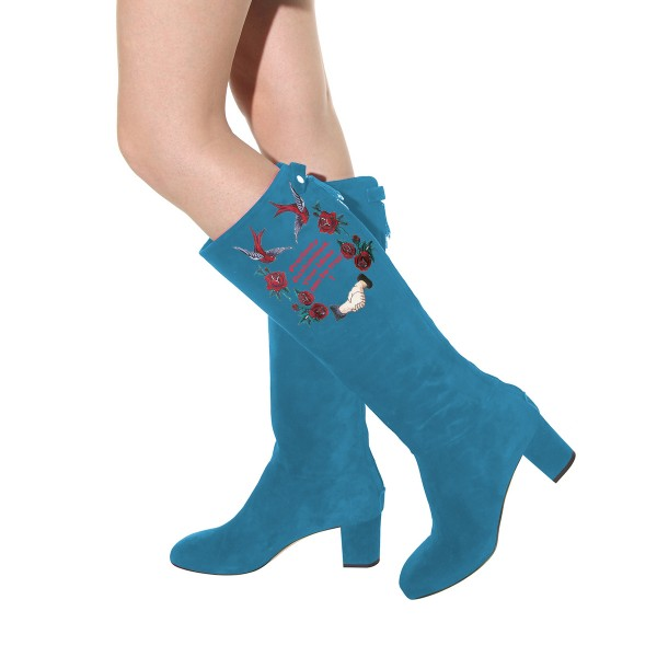 Women's Cyan Suede Letter Floral Mid-Calf Chunky Heel Boots image 4