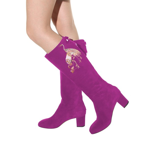Women's Violet Suede Crane Floral Mid-Calf Chunky Heel Boots image 4