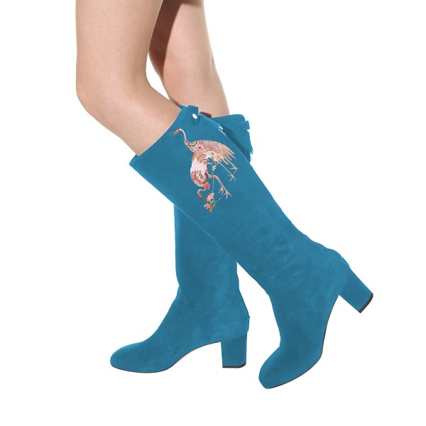 Women's Cyan Suede Crane Floral Mid-Calf Chunky Heel Boots image 4