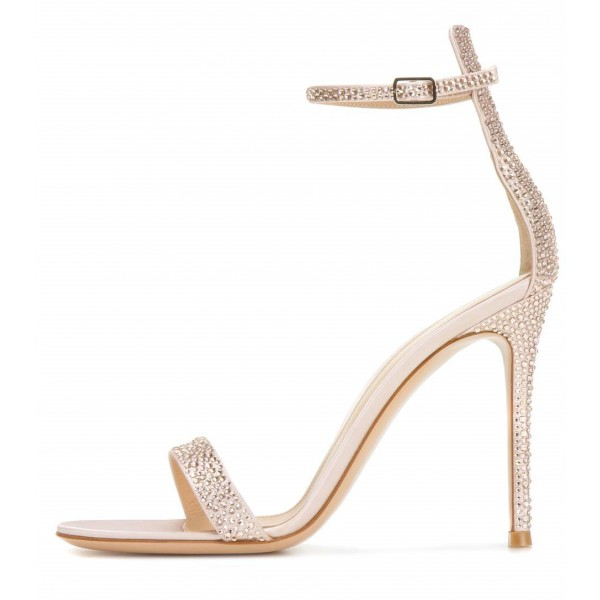 Champagne Bridal Sandals Ankle Strap Rhinestone Stiletto Heels image 2