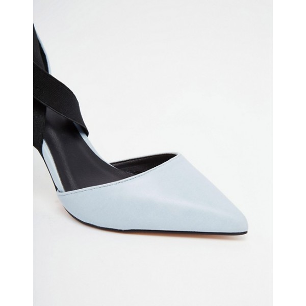 Pale Blue Office Heels Pointy Toe Cross Strap Stiletto Heel Pumps image 3