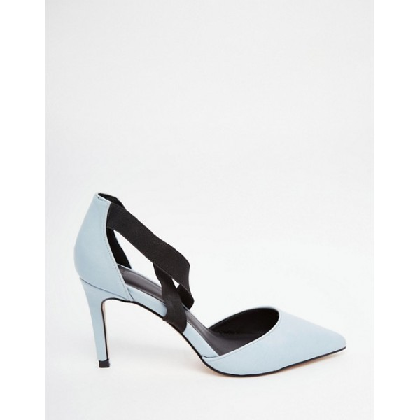Pale Blue Office Heels Pointy Toe Cross Strap Stiletto Heel Pumps image 2