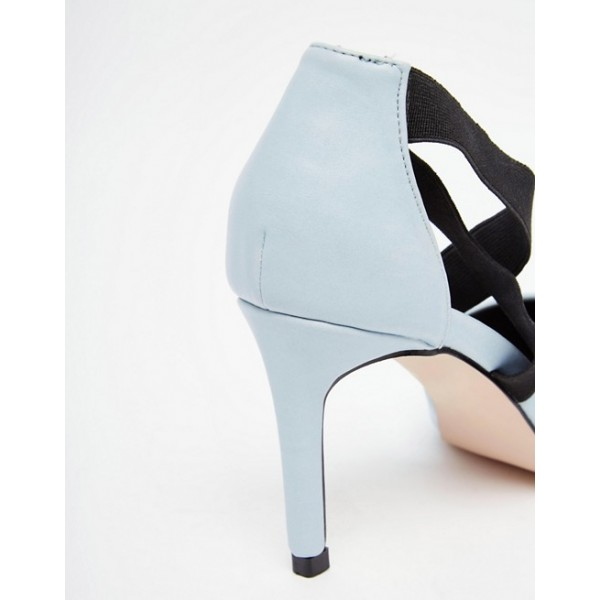Pale Blue Office Heels Pointy Toe Cross Strap Stiletto Heel Pumps image 4