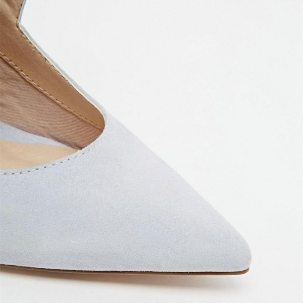 Grey Suede Shoes Pointy Toe Cut out Stiletto Heel Pumps for Women image 3