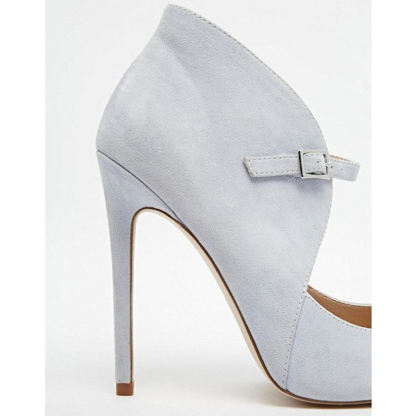 Grey Suede Shoes Pointy Toe Cut out Stiletto Heel Pumps for Women image 4