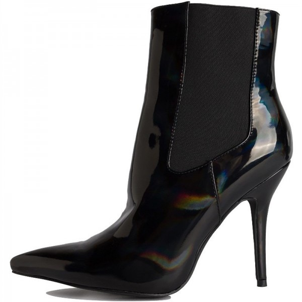 Black Patent Leather Chelsea Boots Stiletto Heel Ankle Boots image 4