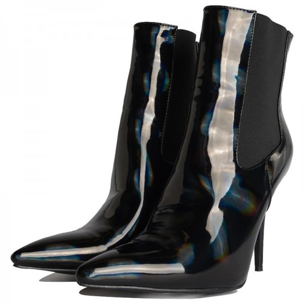 Black Patent Leather Chelsea Boots Stiletto Heel Ankle Boots image 5