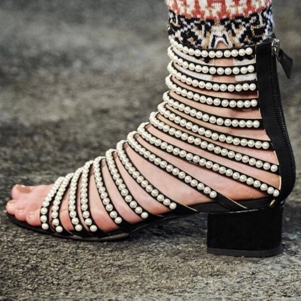 Pearls Gladiator Heels Open Toe Mid-calf Chunky Heels Sandals image 2