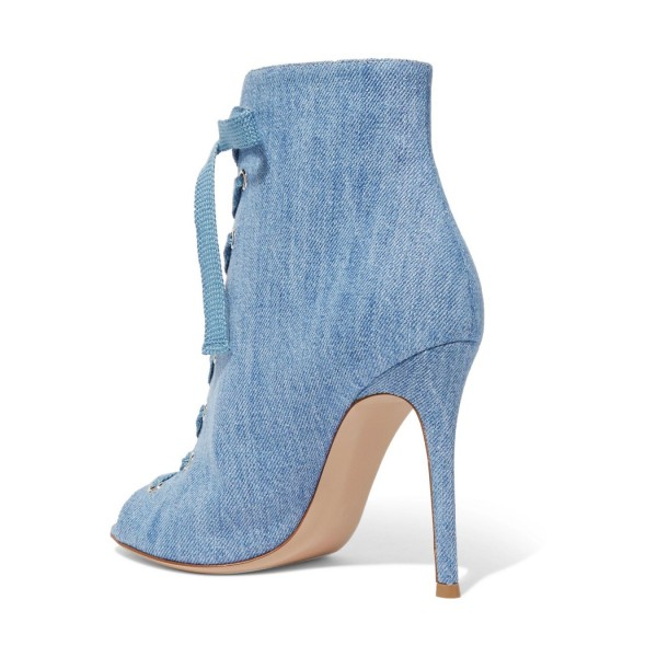 Denim Boots Peep Toe Lace up Stiletto Heel Ankle Booties for Women image 4