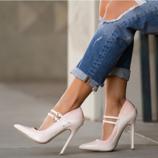 White and Blush Mary Jane Pumps Patent Leather Stilettos Office Heels  image 1
