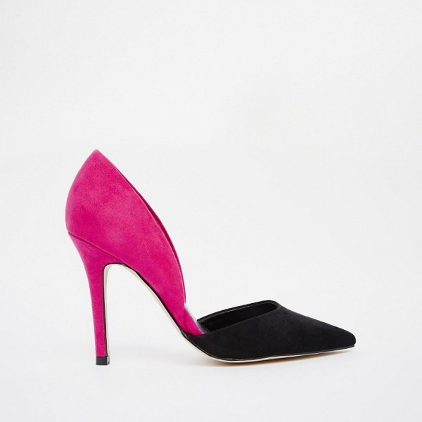 Magenta and Black Office Heels Pointy Toe Stiletto Heel Pumps image 2