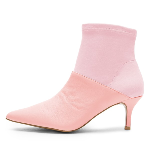 Pink and Blush Contrast Kitten Heel Ankle Booties image 2
