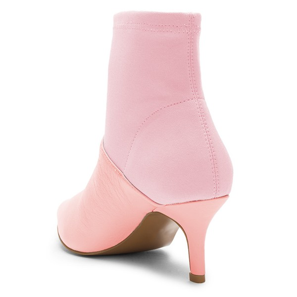 Pink and Blush Contrast Kitten Heel Ankle Booties image 4